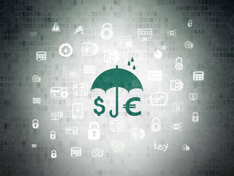 Sicherheitskonzept: Geld und Regenschirm auf Digital-Daten tapezieren Hintergrund stockfoto