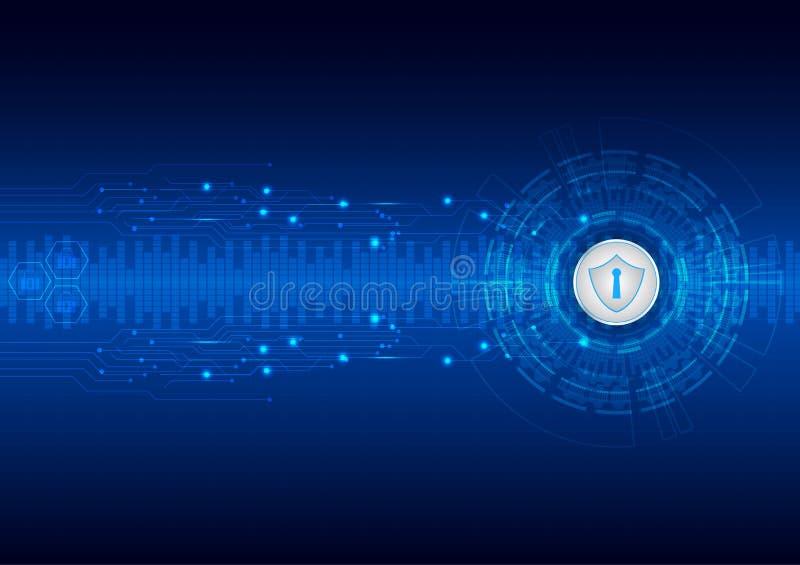Sicherheitskonzept, geschlossenes Vorhängeschloß auf digitalem, Internetsicherheit, blauer Zusammenfassungshallo Geschwindigkeits stock abbildung