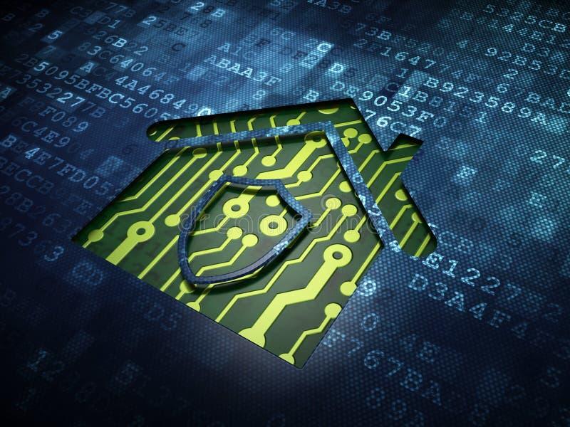 Sicherheitskonzept: Haus auf digitalem Schirmhintergrund lizenzfreies stockfoto