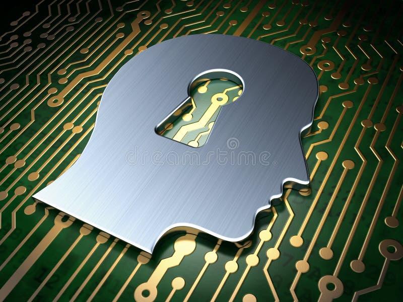 Sicherheitskonzept: Kopf Whis-Schlüsselloch auf Leiterplattehintergrund stockfotos