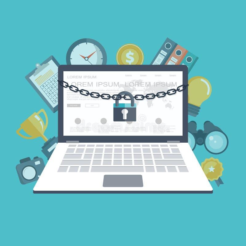 Sicherheitskonzept mit Verschluss und Kette um Laptop Suchmaschinekonzept mit einer Lupe und einem Laptop Flacher Vektor vektor abbildung