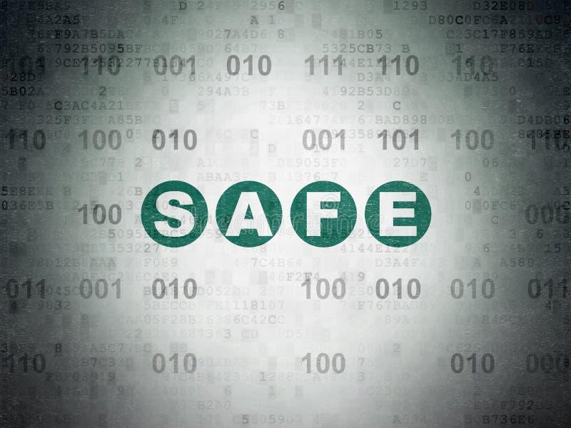 Sicherheitskonzept: Safe auf Digital-Daten-Papierhintergrund vektor abbildung