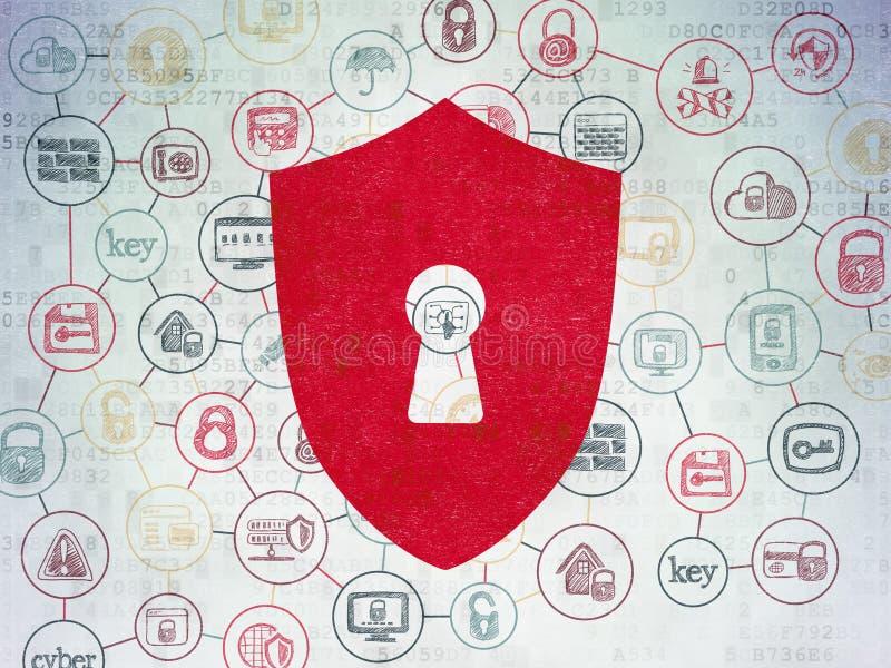 Sicherheitskonzept: Schild mit Schlüsselloch auf Digital-Daten tapezieren Hintergrund lizenzfreie abbildung