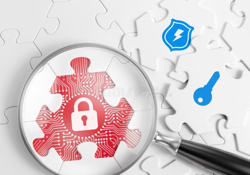 Sicherheitslücke-Suche stock abbildung
