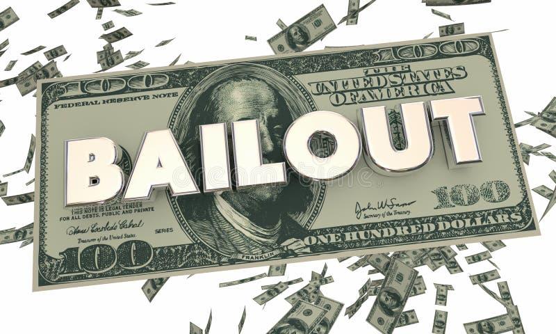 Sicherheitsleistungs-Finanzkrise-Geld-Bargeld-fallendes Wort stock abbildung