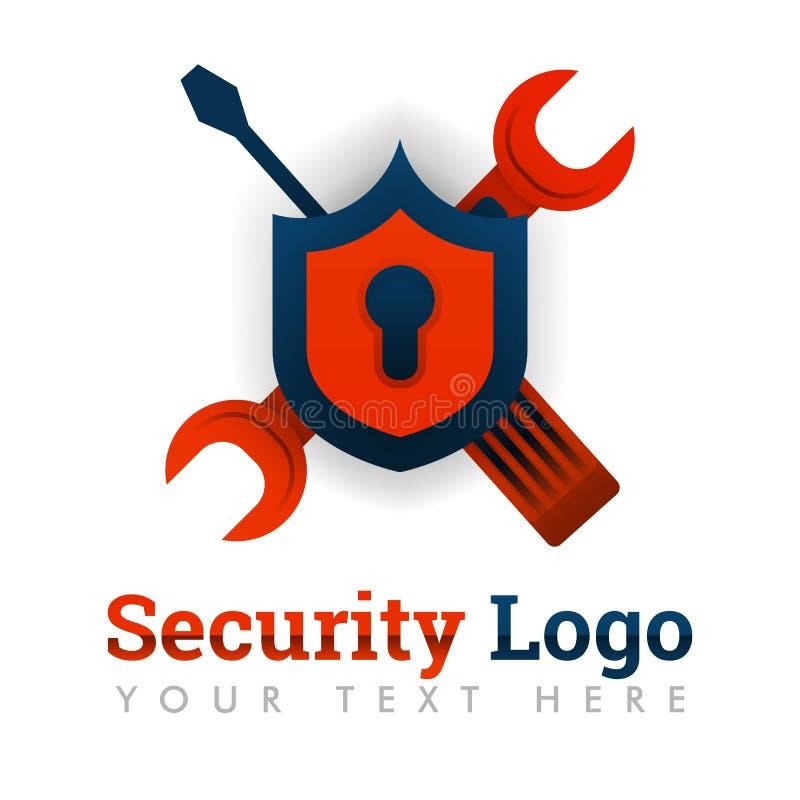 Sicherheitslogoschablone für Reparatur, Wartung, verbessernd, Software-Industrie, Fehler, Wanzen, Technologie, Internet, on-line, lizenzfreie abbildung