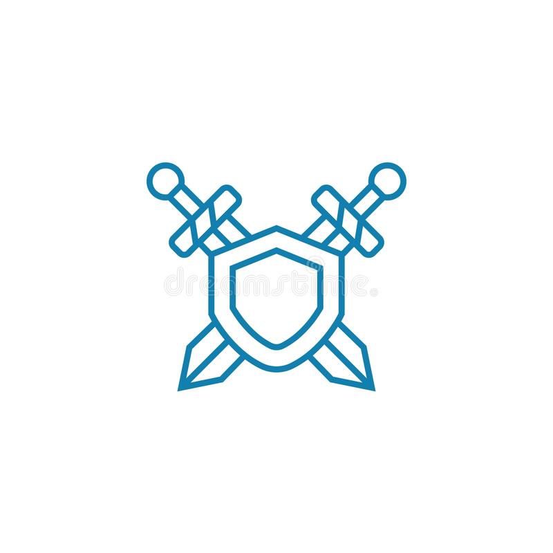 Sicherheitsmaßnahmen lineare Ikonenkonzept Sicherheitsmaßnahmen zeichnen Vektorzeichen, Symbol, Illustration vektor abbildung