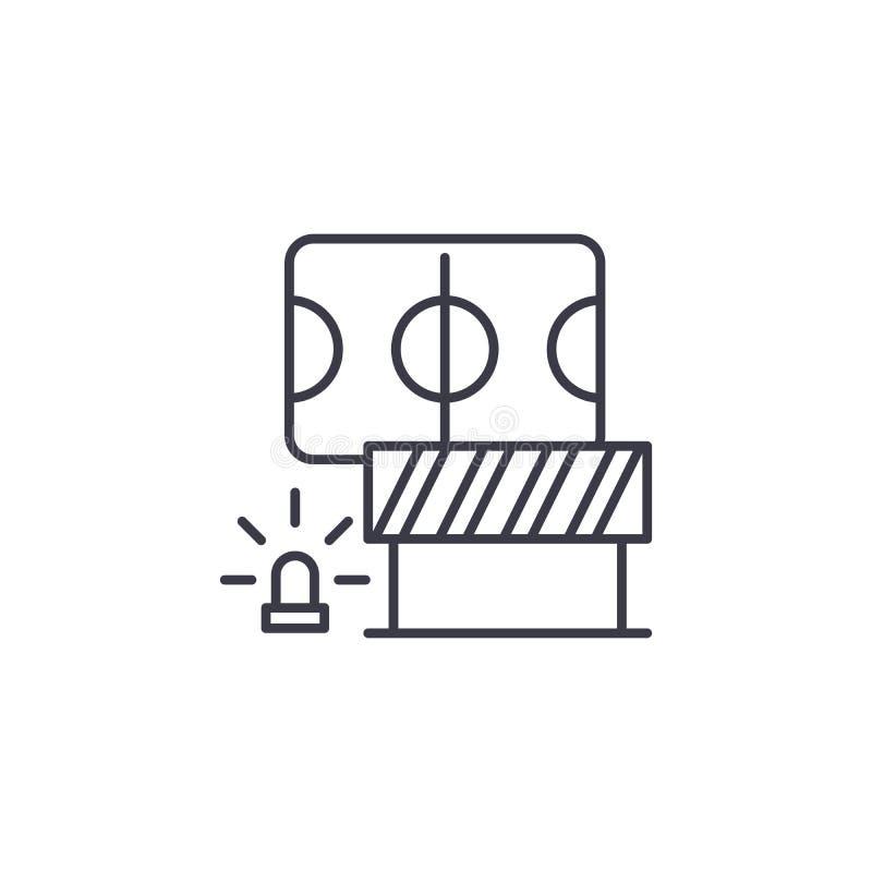 Sicherheitsmaßnahmen lineare Ikonenkonzept Sicherheitsmaßnahmen zeichnen Vektorzeichen, Symbol, Illustration lizenzfreie abbildung