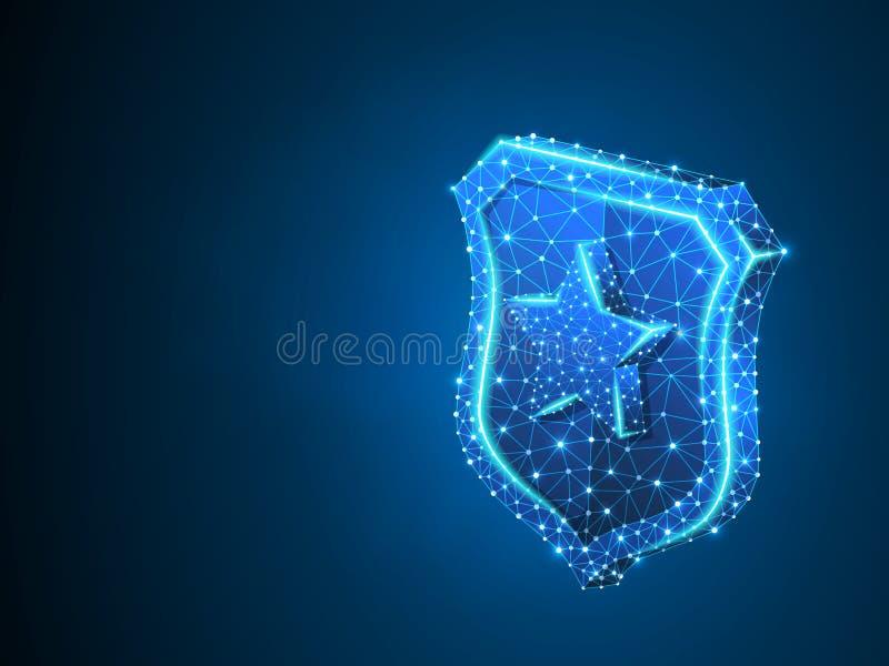 Sicherheitsschild mit Sternzeichenzusammenfassung Neon-polygonalem Geschäftskonzept Vektors 3d des Schutzes Niedriges Poly-wirefr vektor abbildung