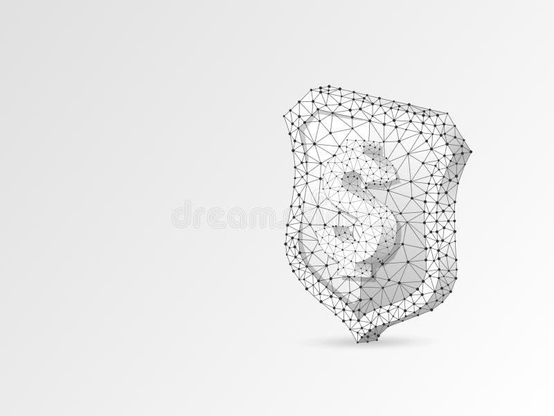 Sicherheitsschild USD-Zeichenzusammenfassungs-Origamiillustration Polygonales Vektorgeschäftskonzept des Geldschutzes niedriges P lizenzfreie abbildung