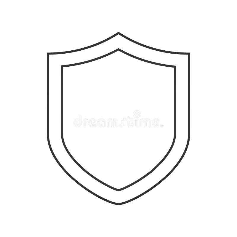 Sicherheitsschildlinie Ikone, Entwurfsvektorzeichen, lineares Artpiktogramm lokalisiert auf Weiß Schutzschildsymbol, Logo illustr stock abbildung
