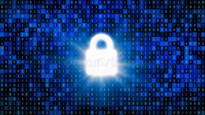 Sicherheitsschloß für schützendes Passwort mit 01 oder Binärzahlen auf dem Bildschirm auf Monitorhintergrundmatrix, Digital-Daten vektor abbildung