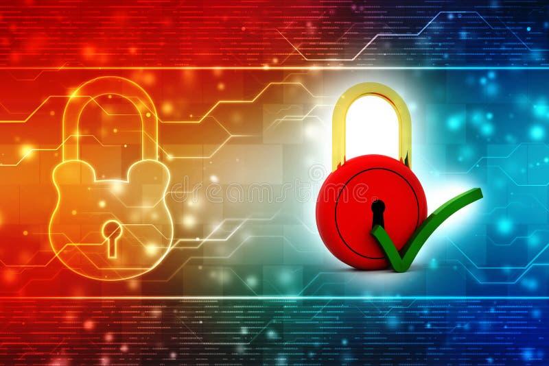 Sicherheitsschloss mit Häkchen im digitalen Hintergrund lizenzfreie stockfotos