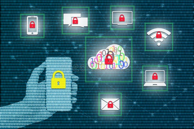 Sicherheitsschloss mit intelligentem Telefon auf virtuellen Schirmen und transparen lizenzfreie stockfotos