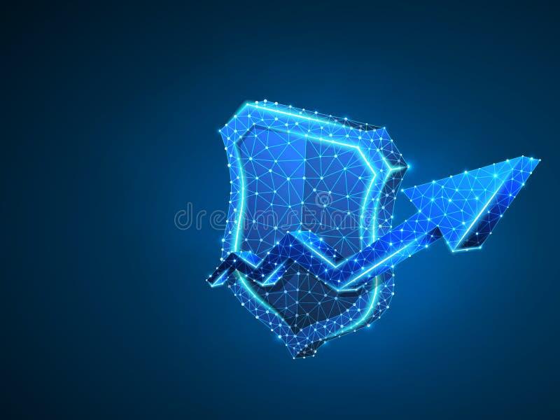 Sicherheitswachstumspfeilschild-Zusammenfassungsneon Polygonales Vektorgeschäftskonzept des Datenschutzes Niedriges Poly-wirefram lizenzfreie abbildung