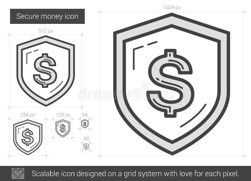 Sichern Sie Geldlinie Ikone lizenzfreie abbildung