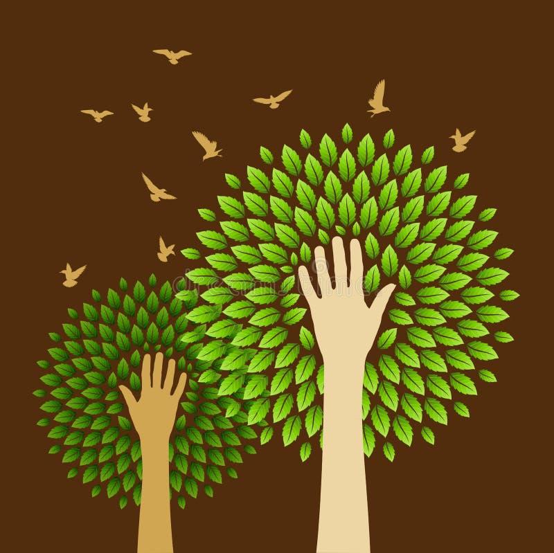 Sichern Sie Grünkonzept mit menschlichen Köpfen lizenzfreie abbildung