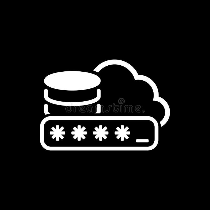 Sichern Sie Wolken-Speicher-Ikone Flaches Design vektor abbildung