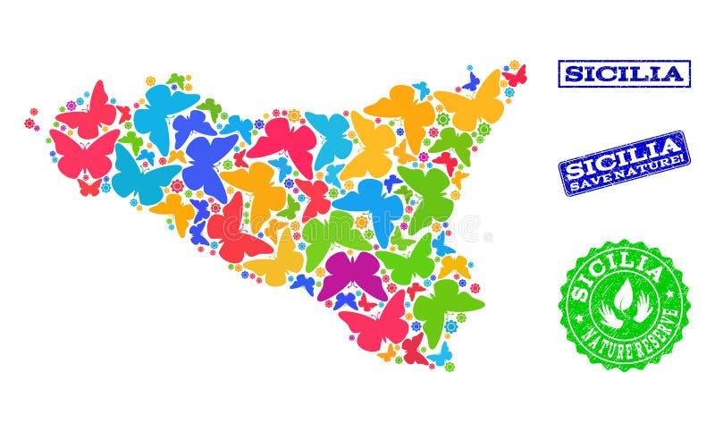Sicherungsnatur-Zusammensetzung der Karte von Sicilia-Insel mit Schmetterlingen und verkratzten Wasserzeichen lizenzfreie abbildung