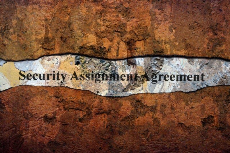 Sicherungsvereinbarungstext auf Wand lizenzfreie stockfotos