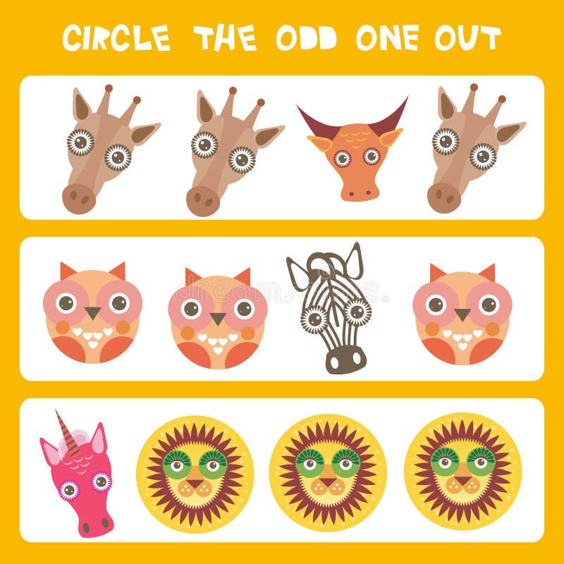 Sicht-Logikpuzzlespiel Kreis das sonderbare heraus Kawaii-Tiere schüchtern Zebralöweeinhorn-Giraffeneule, Pastellfarben auf blaue stock abbildung