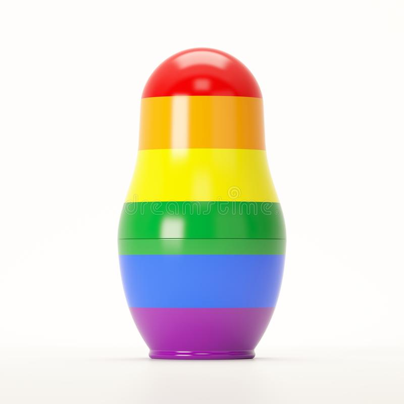 Sichtbarmachung der Nistenpuppe gemalt in den LGBT-Regenbogen-Flaggenfarben lizenzfreie stockfotos
