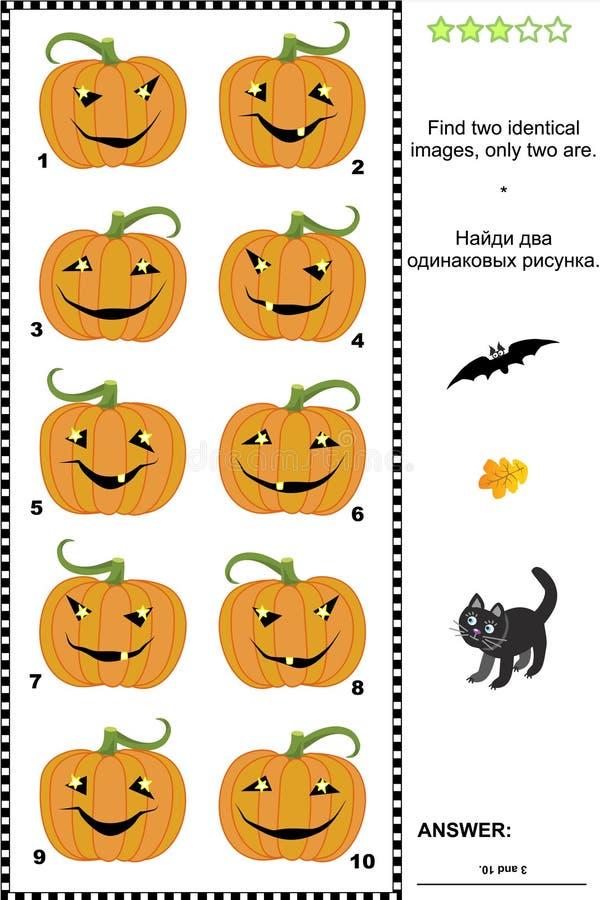 Sichtpuzzlespiel - finden Sie zwei identische Bilder von Halloween-Kürbisen lizenzfreie abbildung