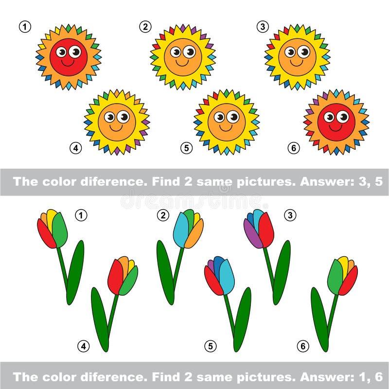 Sichtspiel Entdeckung versteckte Paare Sonnen und Tulpen stock abbildung