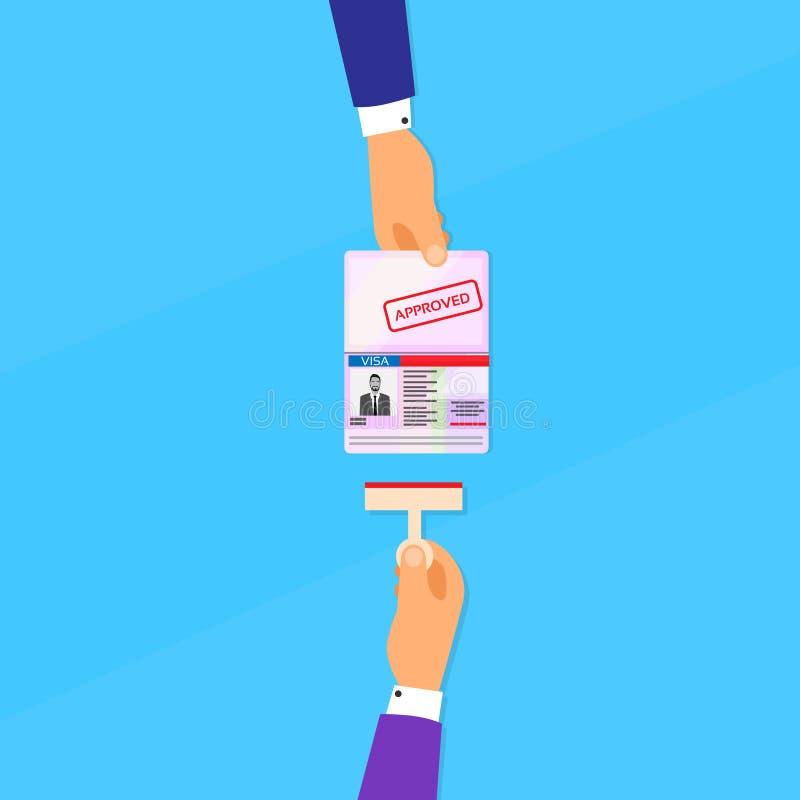 Sichtvermerk-Pass-flacher Ikonen-Geschäftsmann Hand lizenzfreie abbildung