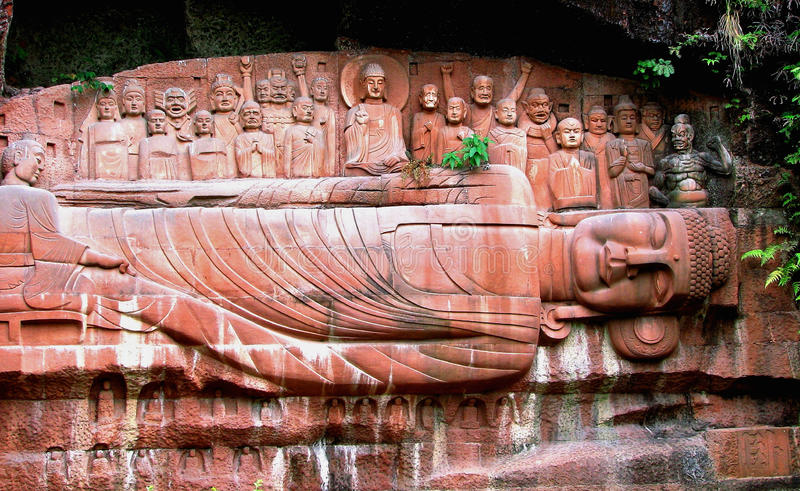 Sichuan, China. Buddha Carving in the wall,Leshan, Sichuan province, China royalty free stock images