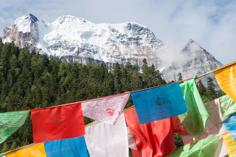 SICHUAN, CHINA - JUL 24 2014: Prayer flag at Yading Nature Reserve. a famous landscape in Daocheng, Sichuan, China. royalty free stock photos