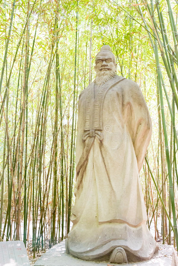 SICHUAN, CHINA - Mar 28 2015: Pang Tong Statue at Zhaohua Ancient Town. a famous historic site in Guangyuan, Sichuan, China. stock images