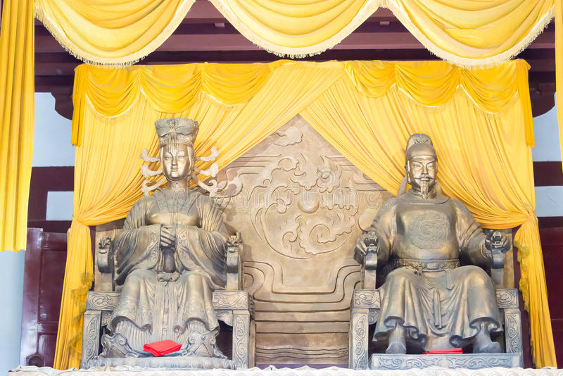 SICHUAN, CHINA - Mar 29 2015: Statues of Wu Zetian and Emperor G. Aozong at Huangze Temple. a famous historic site in Guangyuan, Sichuan, China stock photo