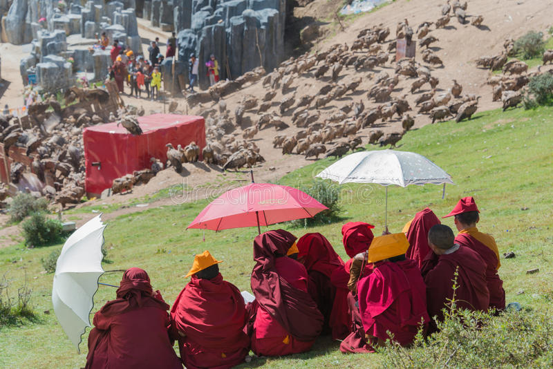 SICHUAN, CHINA - SEP 20 2014: Sky burial site at Larung Gar(Larung Five Sciences Buddhist Academy). a famous Lamasery in Seda, Si. Chuan, China royalty free stock images