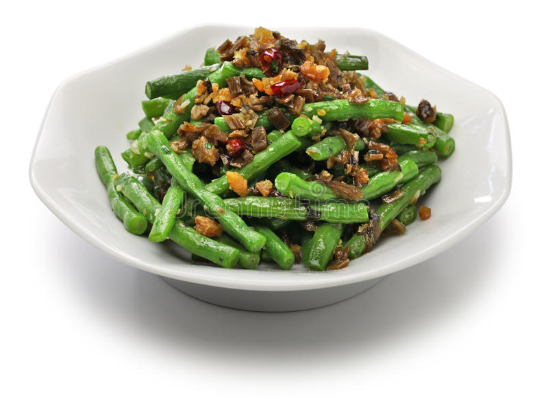 Sichuan dry fried green beans stock image