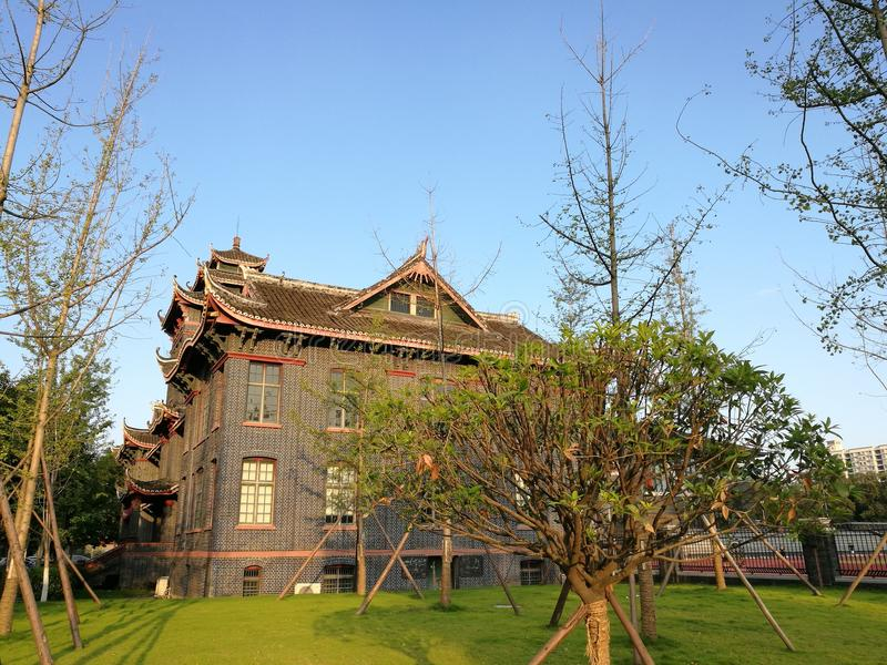 Sichuan Huaxi Uniwersytecki Medyczny kampus nauczania builing starzy budynki zdjęcie royalty free