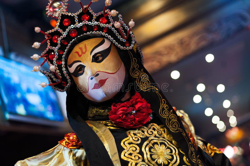 Sichuan Opera - Chengdu. Chengdu - December 29 2014: Chinese artist perform traditional face-changing art or bianlian onstage at Chunxifang Chunxilu on December stock images