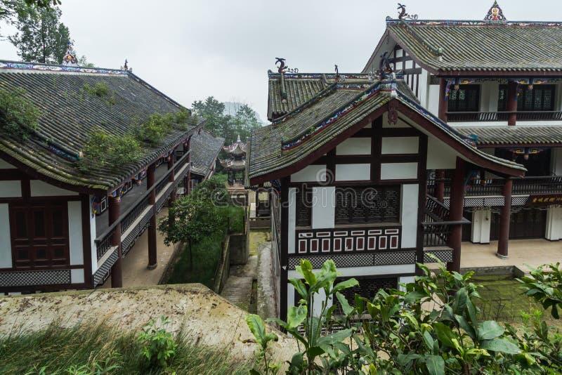 Sichuan-qingcheng Gebirgsalte Gebäude stockbild