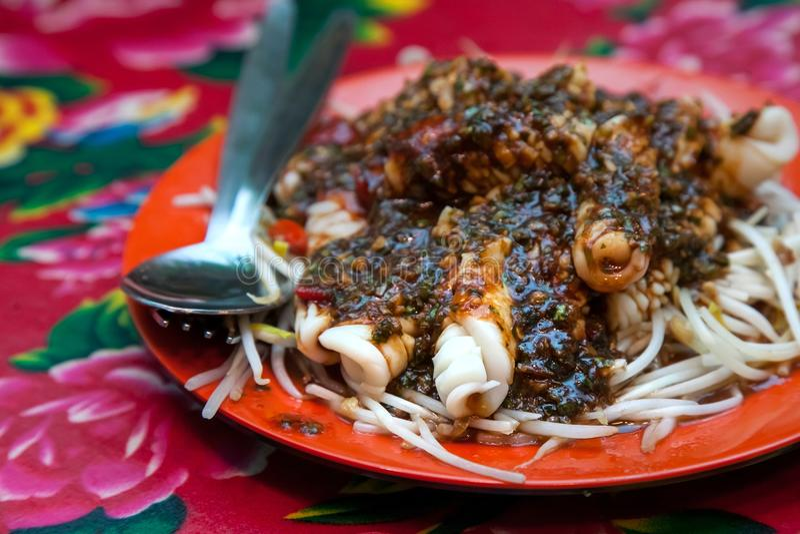 Chinese style squid dish. stock photo