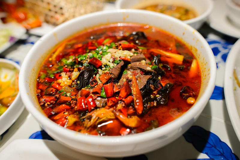 Sichuan style spicy food. On the table stock photo