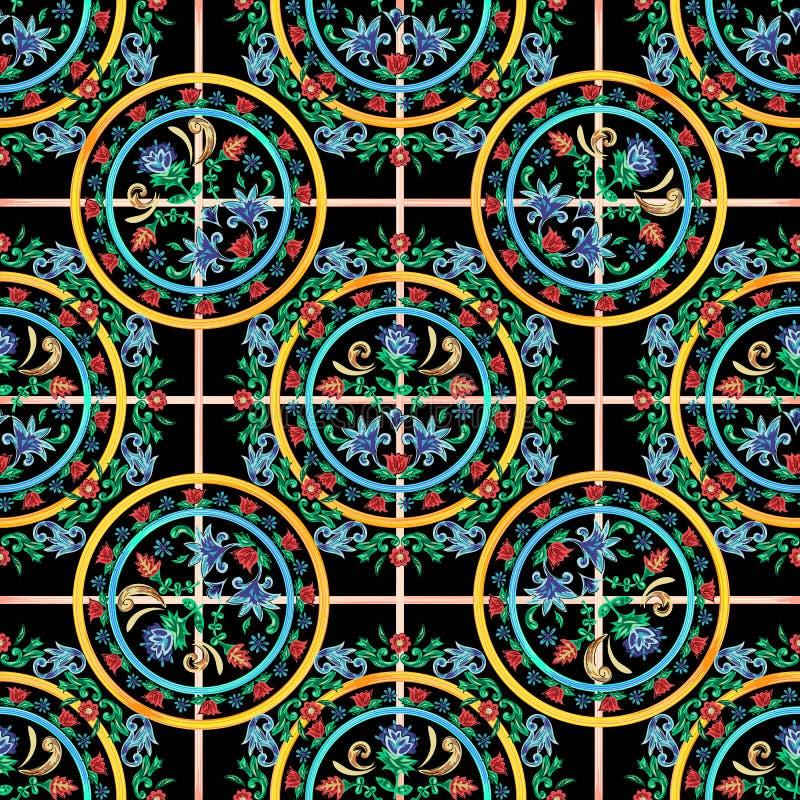 Siciliaans controle naadloos patroon met bloemen Vector bloemenflard voor borduurwerk en drukontwerp vector illustratie