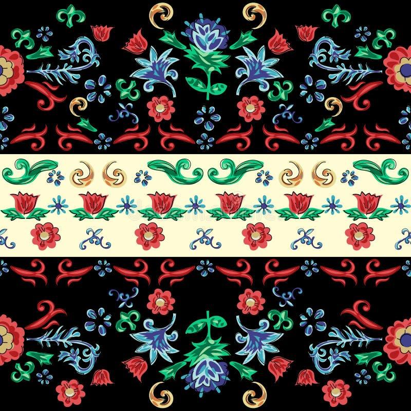 Siciliaans gestreept naadloos patroon met bloemen Vector bloemenflard voor borduurwerk en druk vector illustratie