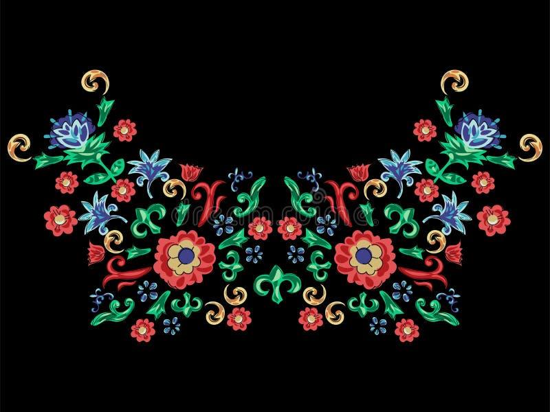 Siciliaans halslijnpatroon met bloemen Vector bloemenflard voor borduurwerk en druk royalty-vrije illustratie