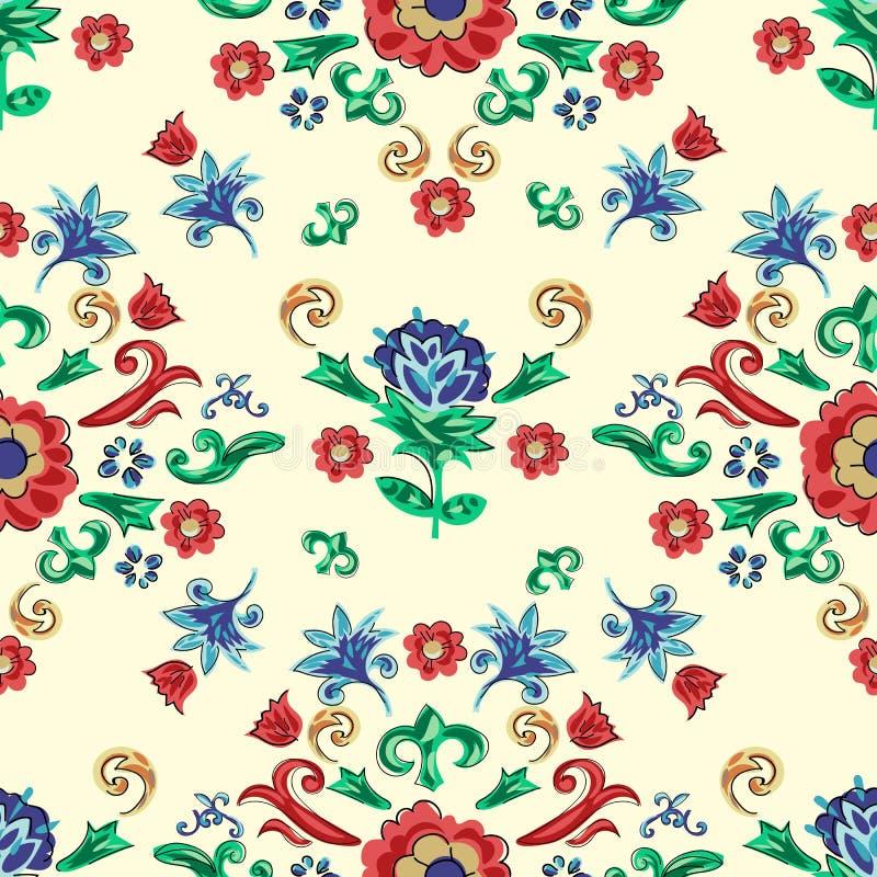 Siciliaans naadloos patroon met bloemen Vector bloemenflard voor borduurwerk en druk vector illustratie