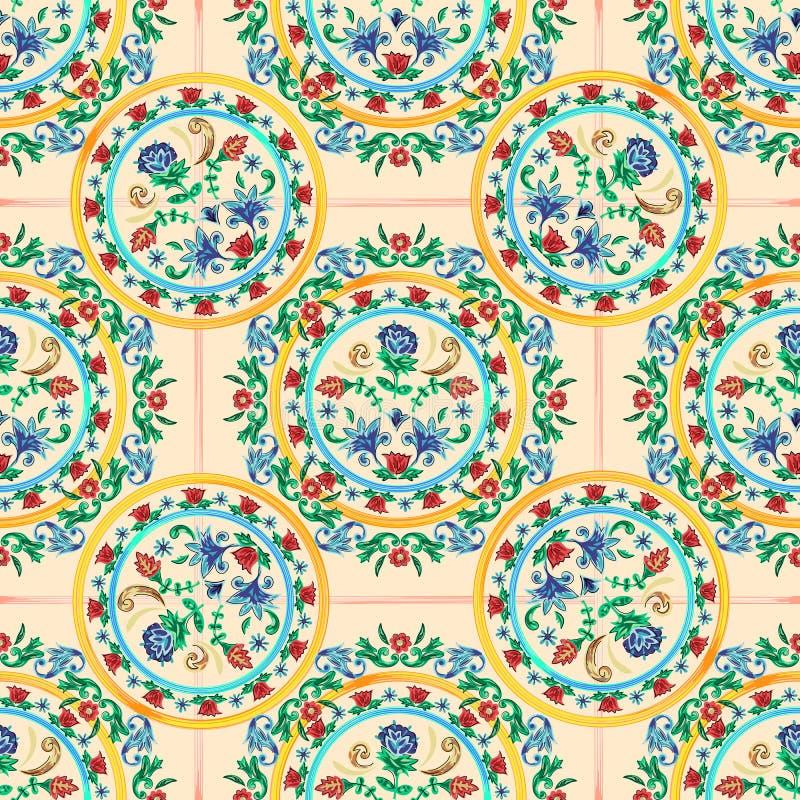 Siciliaans naadloos patroon met bloemen Vector bloemenflard voor borduurwerk en drukontwerp stock illustratie