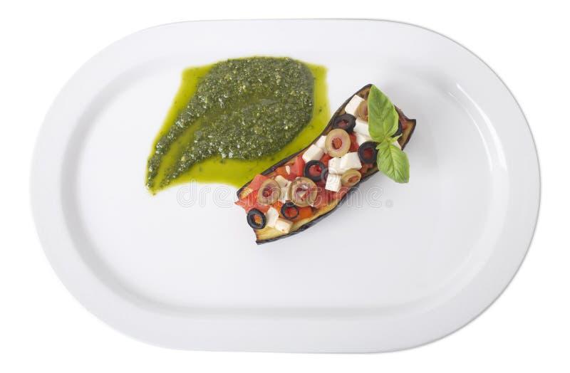 Sicilian auberginecaponata f?r Sicilian stil arkivfoton