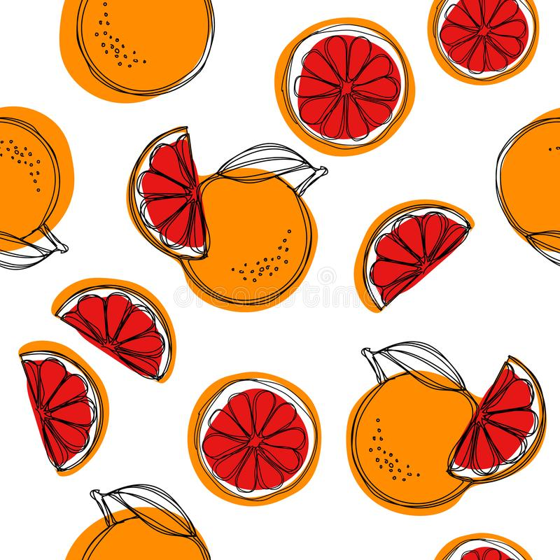 Sicilian blood oranges vector seamless pattern on white background. Red oranges vector illustration
