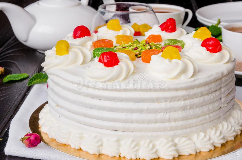 Sicilian cassata cake with candied fruits, pistachios and chocolate. royalty free stock photo
