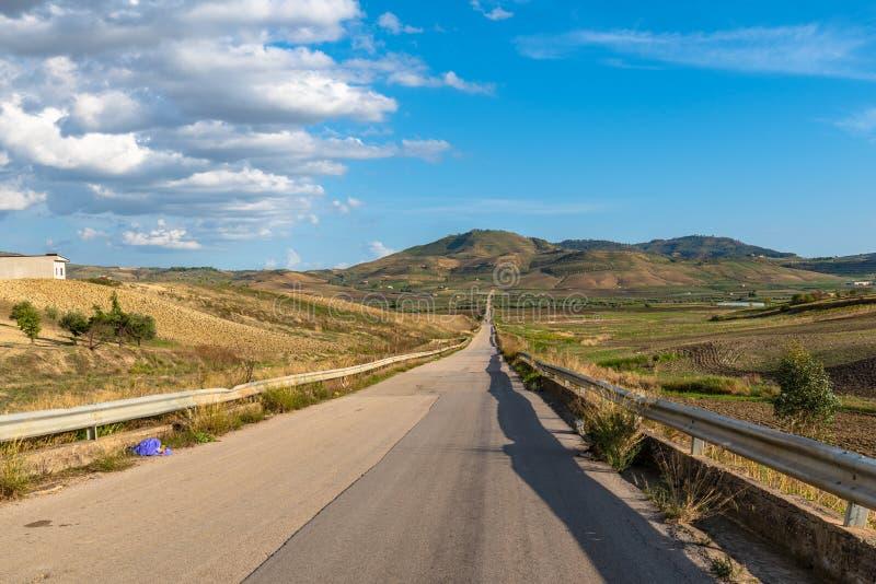 Sicilian Country Road, Barrafranca, Enna, Sicily, Italy, Europe stock image
