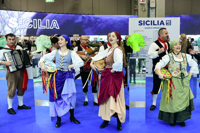 Sicilian dancers in traditional clothes royalty free stock image